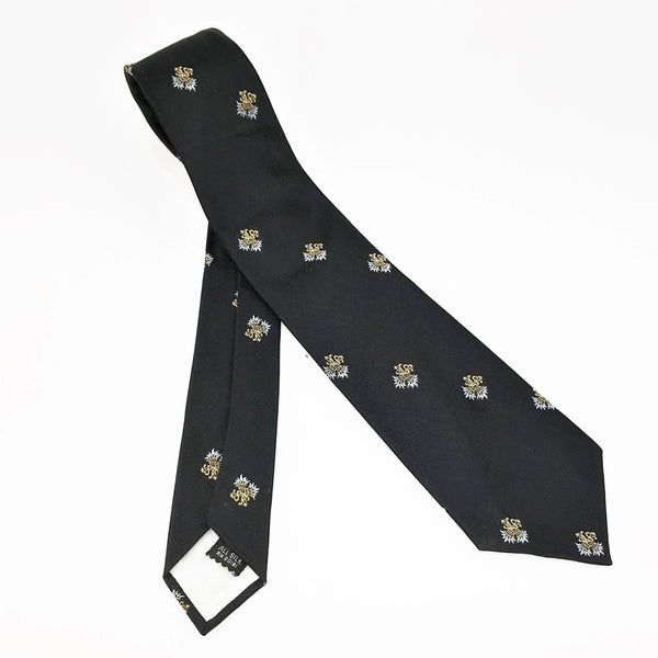 1950s-60s Black Silk Skinny Tie Narrow Mad Men Era Mid Century Men's Vintage All Silk Necktie with Crossed Torches designs