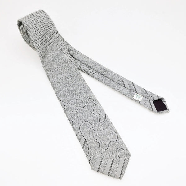 1980s Men's Skinny Silver Tie Vintage Narrow Woven necktie by Company B Retro Abstract Design