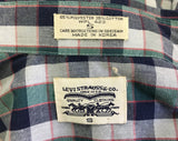 1980s LEVI'S Western Shirt Green, Blue & Red Plaid Vintage Cowboy Style Levi Strauss Long Sleeve Shirt with Pearl Snaps - Size Men's SMALL