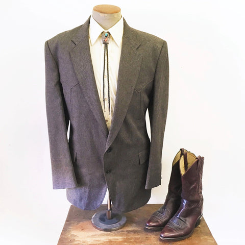 1970s Men's Western Suit Jacket / Blazer Vintage Brown & Gray Polyester Cowboy Style Sport Coat by Circle S of Dallas, Texas - Size 46 (XL)