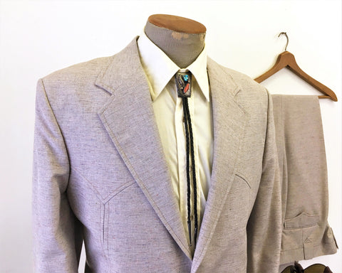 1970s Unworn 2 piece Western Suit Jacket & Pants Mens Vintage Cowboy Style Blazer and Trousers by Circle S Ranch Western Wear - Size 44