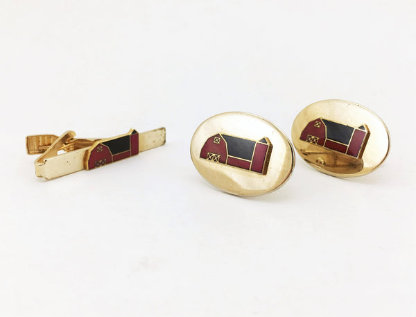 1970s Vintage Red Barn Cufflinks & Tie Bar / Tie Clip Set Gold Tone Metal Cufflink and Tie Clasp with enamel barn by Balfour