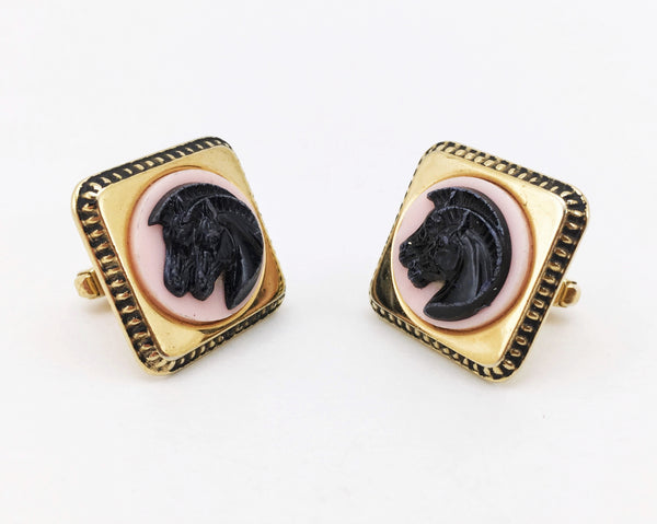 1950s ANSON Horse Cufflinks Large Modernist Mad Men Era Gold Tone Metal Cufflink Set with pink and black horses cameo by Anson