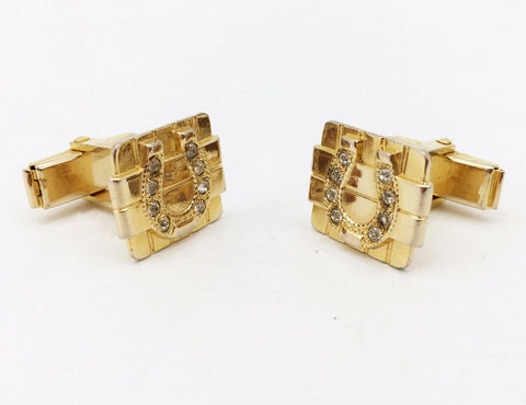 "1950s Lucky Horseshoe Cufflinks Set Mid Century Modern Mad Men Gold Tone Metal Cuff links with ""diamond"" stones by A. CORBI"
