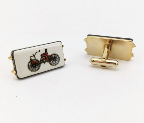 1960s-70s Antique Car Cufflinks Men's Vintage Gold Tone Metal Cufflink Set with porcelain tiles with early 1900s car designs