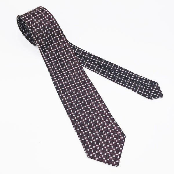 1950s Superba Tie Mad Men Era Mid Century Modern Skinny Black, Brown & White Men's Vintage Necktie with geometric dot design by SUPERBA