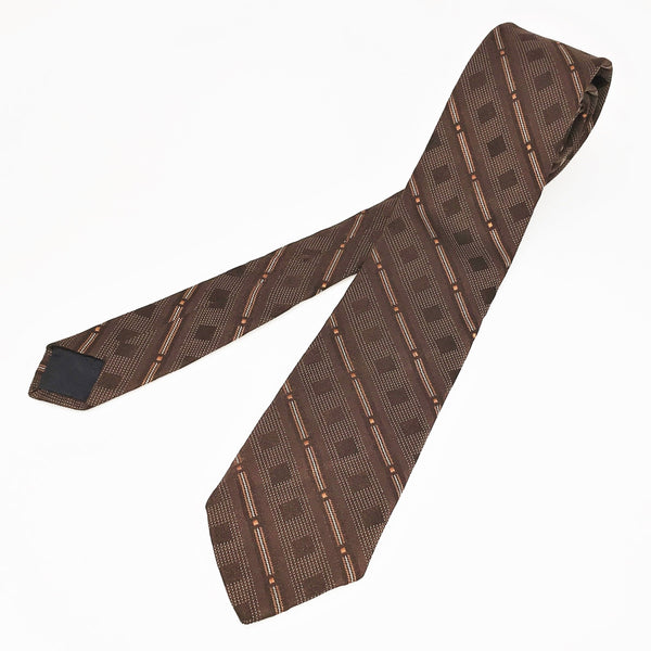 1970s LANVIN Pure Silk Men's Necktie Vintage Brown & Copper Striped All Silk High Fashion Couture Tie by Lanvin New York, Paris