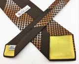 1970s Disco Era Wide Brown 100% Polyester Necktie Houndstooth design tie by Rothschild's