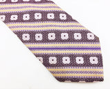 1970s Oleg Cassini Tie Men's Vintage Wide Purple & Lavender Woven Polyester Disco Era Necktie by Oleg Cassini