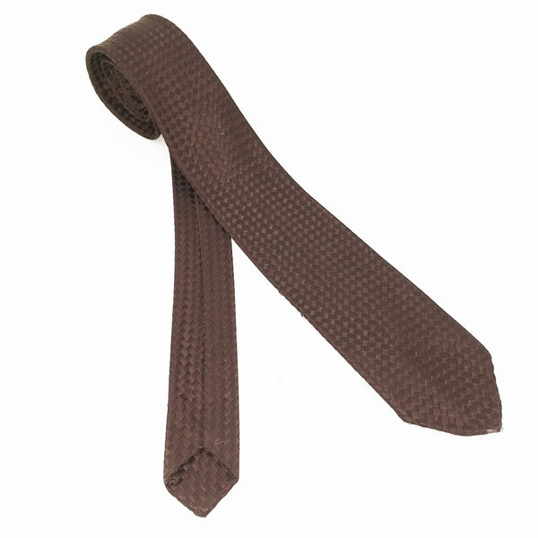 1950s MOD Brown Skinny Tie Mad Men Era Narrow Men's Vintage 100% Acetate Necktie Woven in France