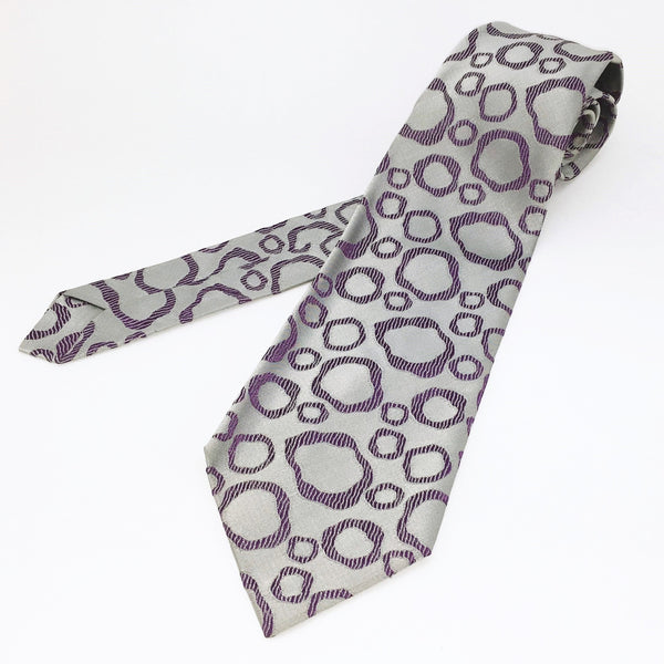 1970s Wide Silver & Purple Abstract Tie Men's Vintage Disco Era Textured Woven Rhodia Acetate Necktie with Abstract Designs by Mitzi Cravat
