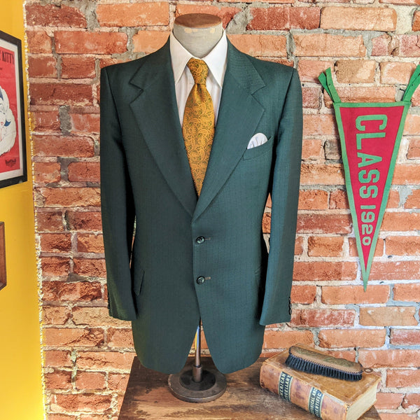 1970s Dark Green Polyester Suit Jacket Men's Vintage Disco Era Textured Polyester Blazer / Sport Coat by Walton Clothes - Size 44 (LARGE)