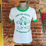 "1970s-80s Have You Hugged An Irishman Today? Screen Stars Shirt Vintage Green & White Ringer T-shirt with Leprechaun - Size XS (34"" chest)"