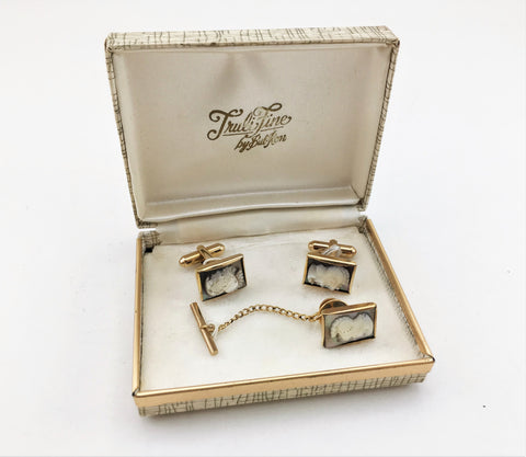 1950s 12 Kt Gold Filled Cameo Cufflinks & Tie Tack Set Truli Fine by Bal-Ron Men's Vintage Cufflinks, Tie Pin with Gladiator Designs in box