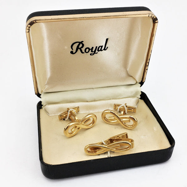 1950s Gold Knot Cufflinks & Tie Clasp / Tie Bar Set Mad Men Era Gold Tone Men's Vintage Cufflink Set by Royal in Original Box