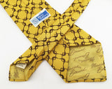 1970s Disco Era Tie Men's Vintage Mustard Yellow & Brown Imported Polyester Necktie by Monsieur Bernard for The Shirt Gallery Beverly Hills