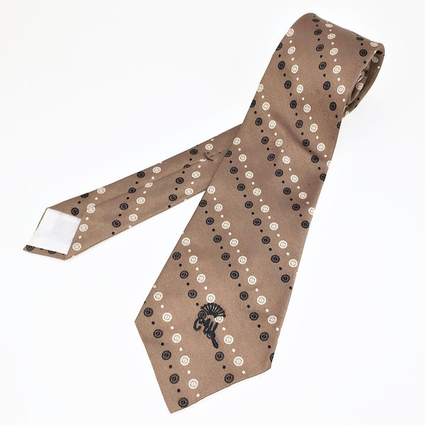 1970s COUNTESS MARA Tie Men's Vintage Wide Light Brown Necktie with woven geometric designs by Countess Mara New York