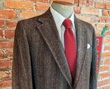 1970s Vintage Men's Tweed Suit Jacket 100% Wool Brown Herringbone Tweed Blazer / Sport Coat Stanley Blacker Jones Store - Size 38 (MEDIUM)