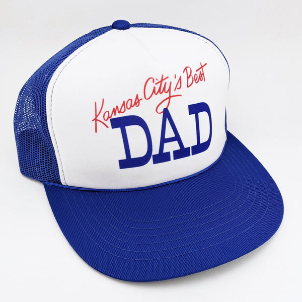1980s Kansas City's Best DAD Men's Vintage Trucker Hat Unworn Mint Condition Royal Blue Baseball Cap Adjustable Adult Size