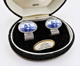 1960s SWANK Delft Ceramic Tile Cufflinks Silver Tone Men's Vintage Cufflink Set from Holland Arts of the World Series in velvet box by SWANK