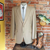1970s Johnny Carson Western Suit Jacket / Blazer Vintage Tan Polyester Cowboy Style Sport Coat by Johnny Carson - Size 40 (MEDIUM)