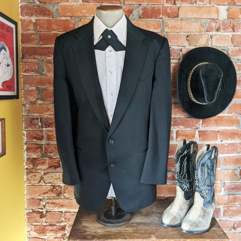 1970s Vintage Men's Formal Western Jacket / Sport Coat / Blazer Black Cowboy Style Tuxedo Jacket Circle S of Dallas - Size 45-46 Long (XL)