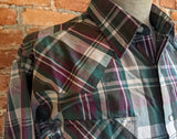 1980s Vintage Plaid Ely Cattleman Western Shirt Men's Cowboy Style Long Sleeve Green & Purple Pearl Snap Shirt - SIZE XL