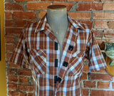 1960s-70s Men's Vintage Mod Brown Plaid Mad Men Era Short Sleeve Shirt with Velcro closures by Club Hampton - Size MEDIUM
