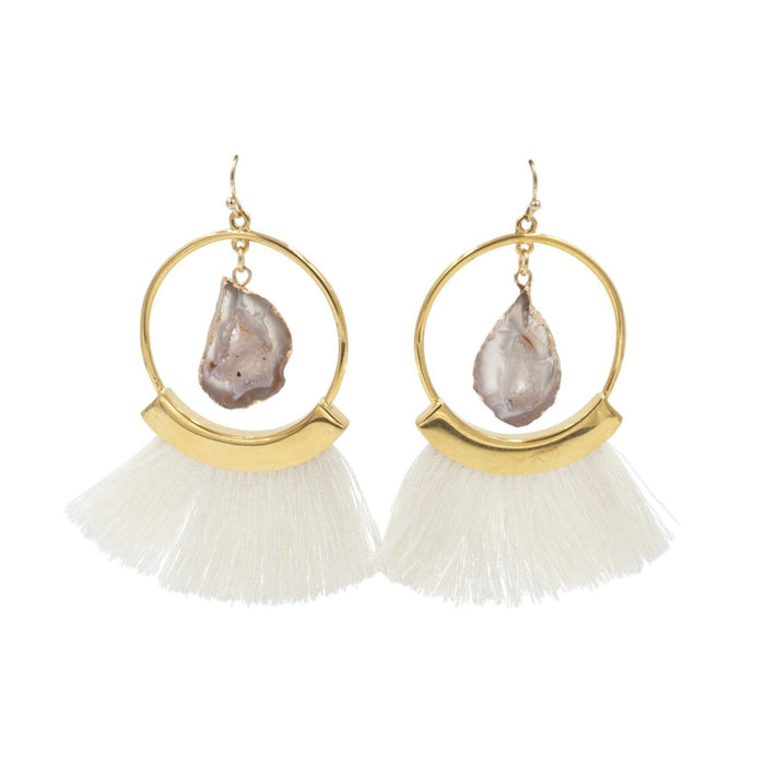 Agate Collection - Ashen Fringe Earrings - Kinsley Armelle