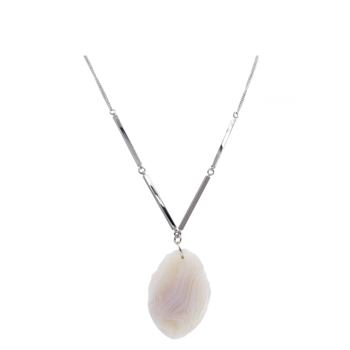 Agate Collection - Silver Ashen Necklace - Kinsley Armelle