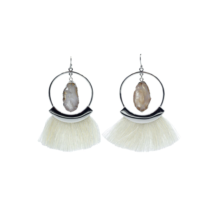 Agate Collection - Silver Ashen Fringe Earrings - Kinsley Armelle