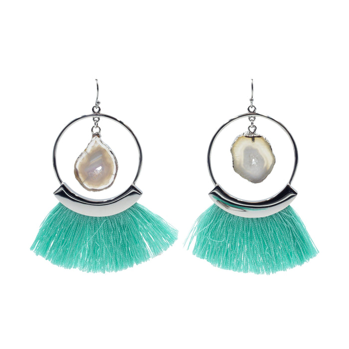 Agate Collection - Silver Mint Fringe Earrings - Kinsley Armelle