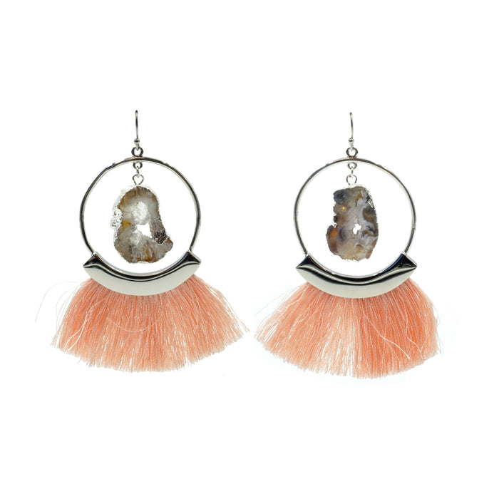 Agate Collection - Silver Punch Fringe Earrings