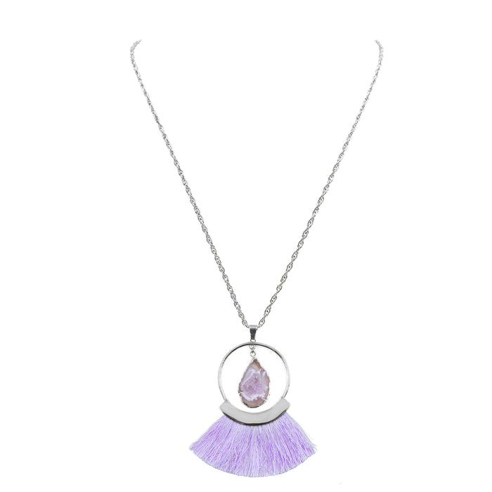 Agate Collection - Silver Royal Fringe Necklace