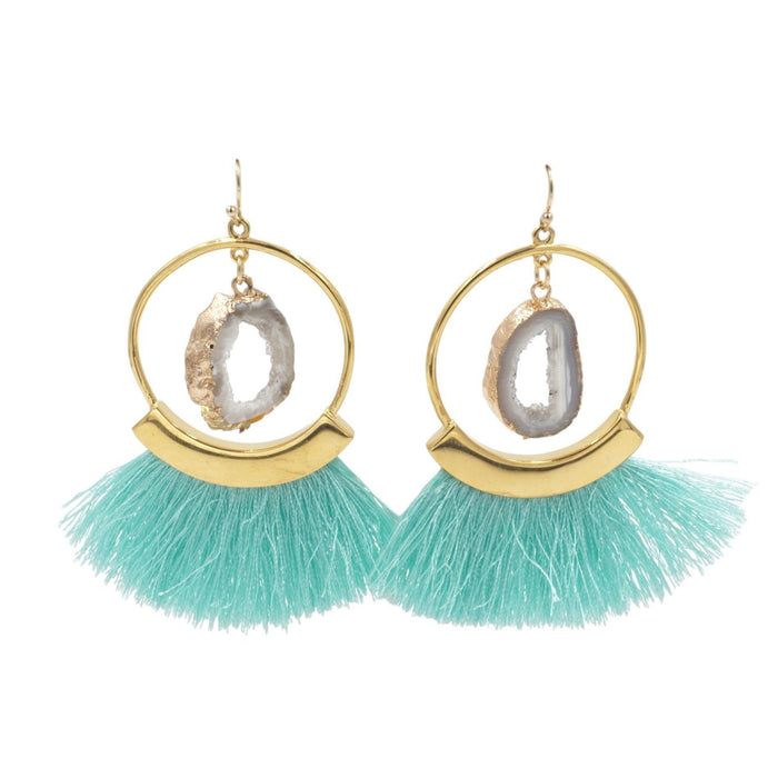 Agate Collection - Mint Fringe Earrings - Kinsley Armelle