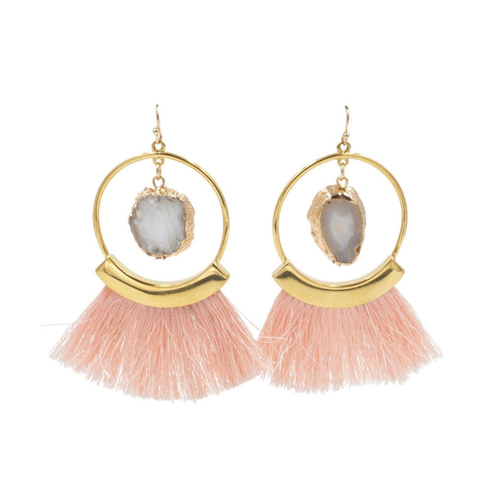 Agate Collection - Punch Fringe Earrings - Kinsley Armelle