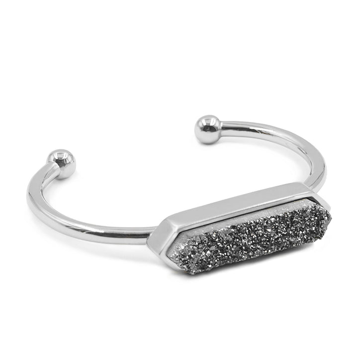 Bangle Collection - Silver Stormy Quartz Bracelet