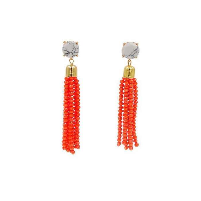 Tassel Collection - Apricot Glass Beaded Earrings - Kinsley Armelle