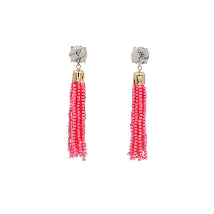 Tassel Collection - Flamingo Pink Beaded Earrings - Kinsley Armelle