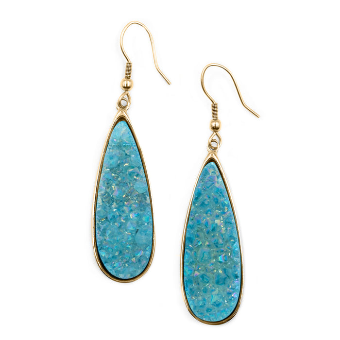 Druzy Collection - Azure Quartz Drop Earrings