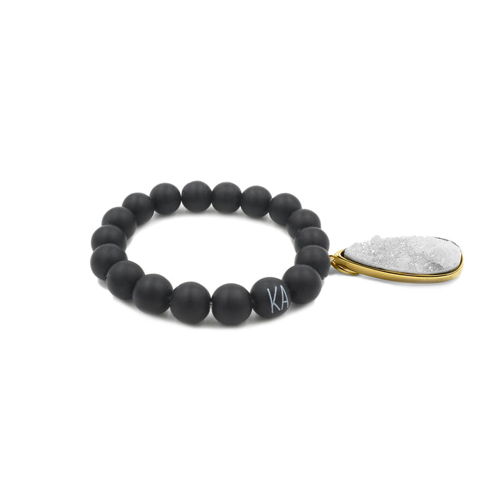 Druzy Collection - Coal Quartz Drop Bracelet