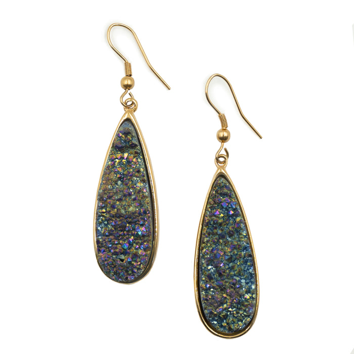 Druzy Collection - Elara Cosmic Quartz Drop Earrings