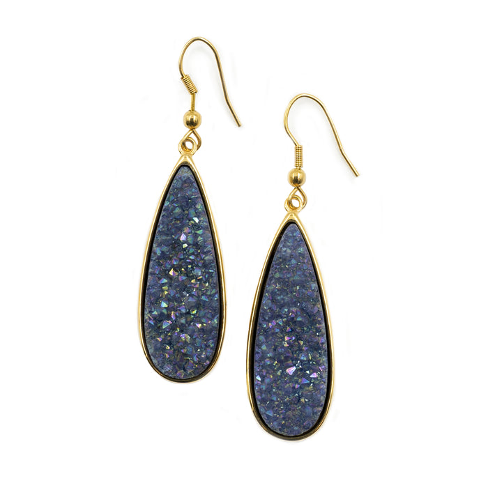 Druzy Collection - Denim Quartz Drop Earrings