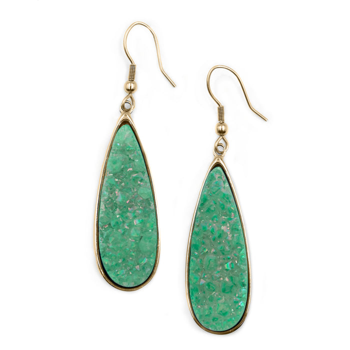 Druzy Collection - Jade Quartz Drop Earrings