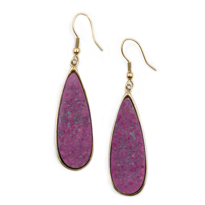 Druzy Collection - Magenta Quartz Drop Earrings (Limited Edition)