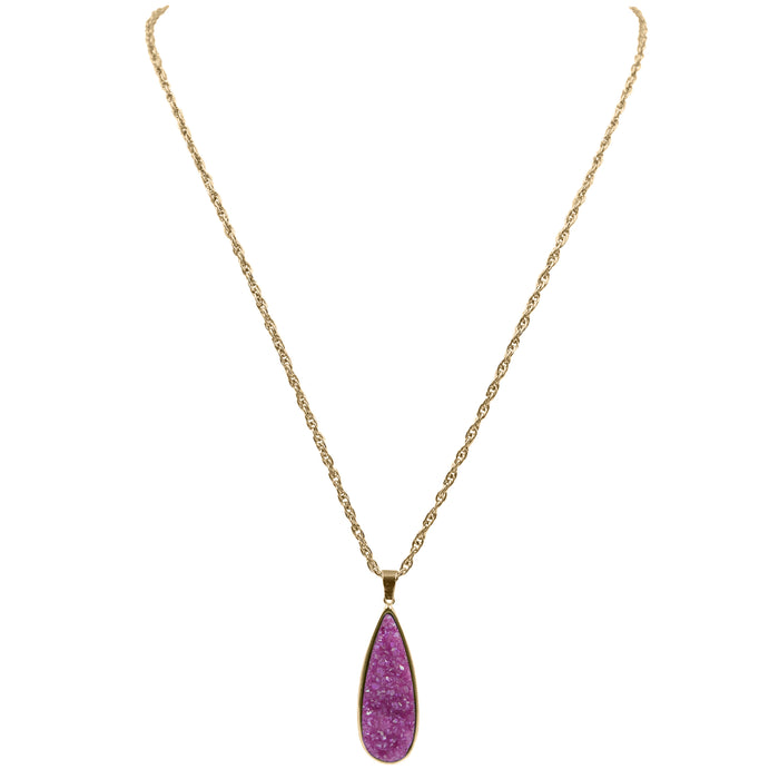 Druzy Collection - Magenta Quartz Drop Necklace (Limited Edition)