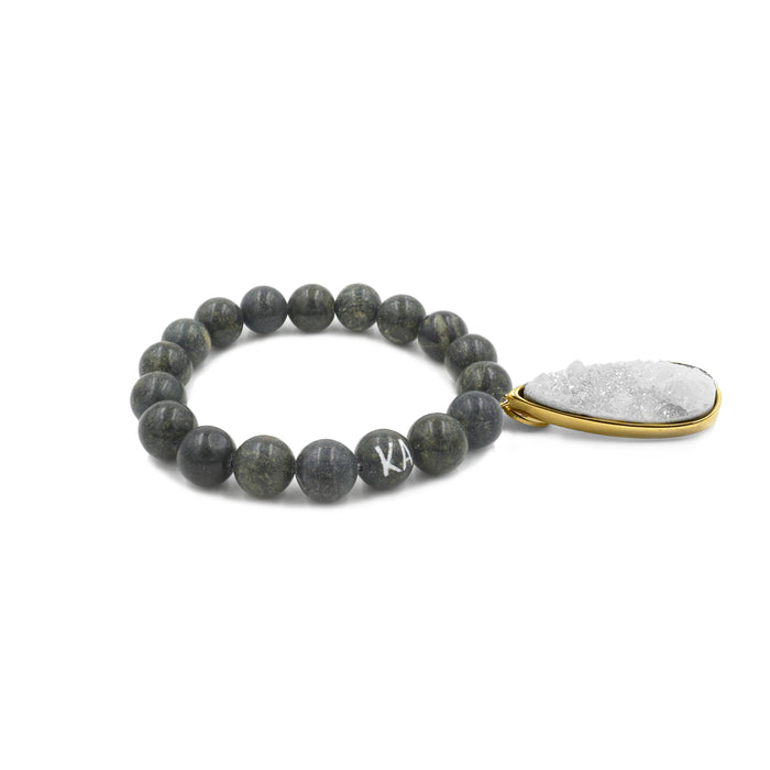 Druzy Collection - Moss Quartz Drop Bracelet