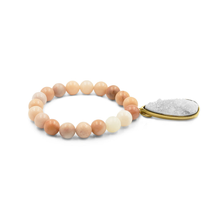 Druzy Collection - Old Rose Quartz Drop Bracelet