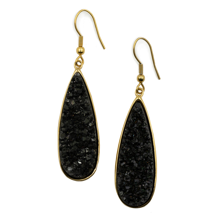Druzy Collection - Raven Quartz Drop Earrings