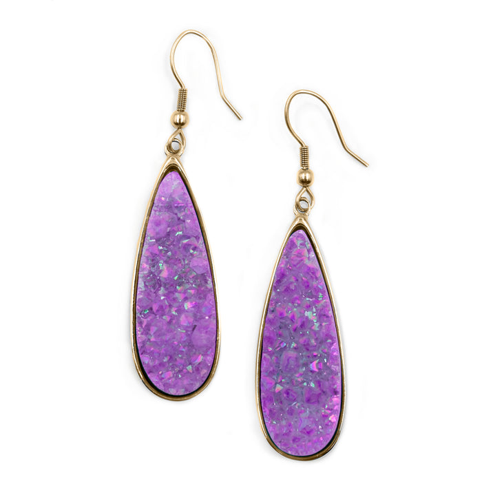 Druzy Collection - Royal Quartz Drop Earrings